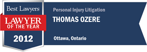 Thomas Ozere has earned a Lawyer of the Year award for 2012!