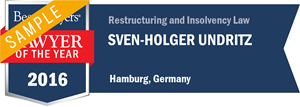 Sven-Holger Undritz has earned a Lawyer of the Year award for 2016!