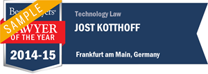 Jost Kotthoff has earned a Lawyer of the Year award for 2014!