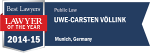 Uwe-Carsten Völlink has earned a Lawyer of the Year award for 2014!